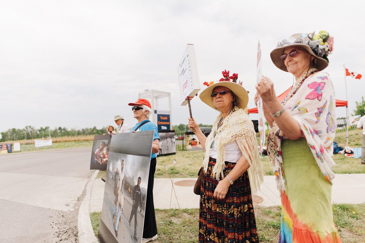 Protesters outside the CANSEC perimeter. Photo: Ben Welland, taken at 2016 CANSEC