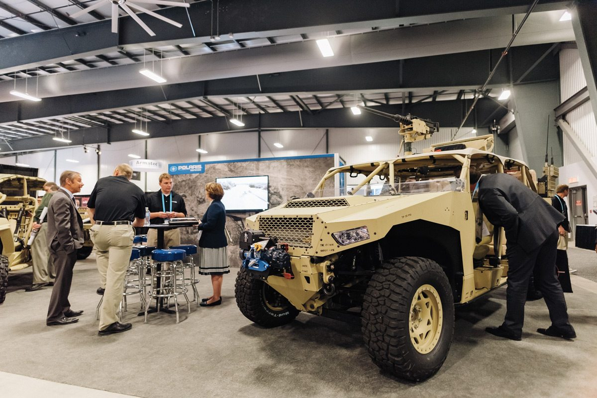 This is a Polaris DAGOR all-terrain, light tactical vehicle (ATV) designed for military use as a reconnaissance and general purpose utility vehicle. It's armed with a .50 machine gun in this particular configuration. Photo: Ben Welland, taken at CANSEC 2016