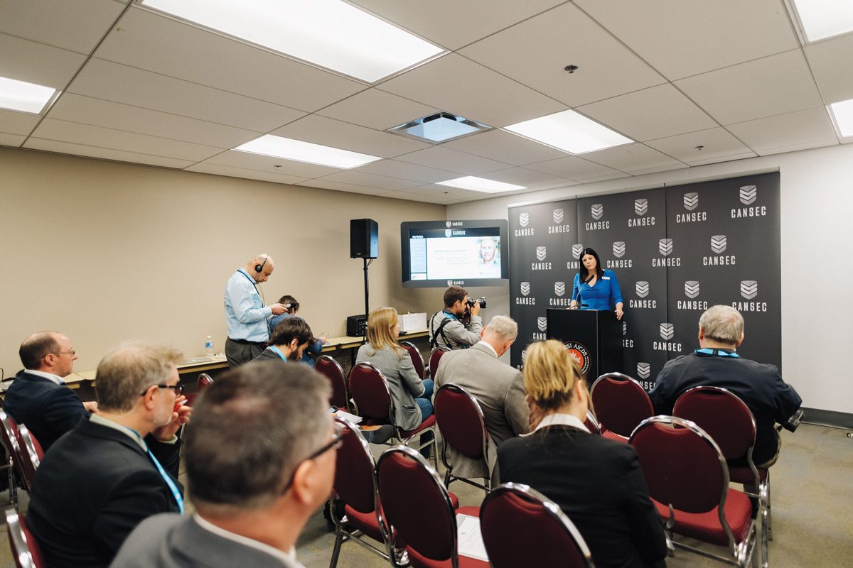 A presentation by a representative from the Canadian Association of Defence and Security Industries. Photo: Ben Welland, taken at CANSEC 2016