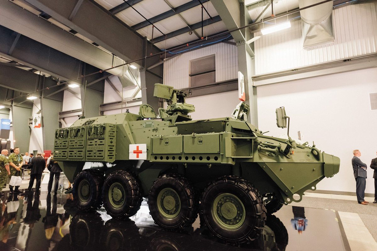 A LAV III Upgrade Project (LAV-UP) armoured personnel carrier configured as an ambulance. Photo: Ben Welland, taken at CANSEC 2016