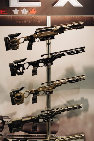 A display of small-arms accessories manufacture by the firm CADEX. Photo: Ben Welland, taken at CANSEC 2016