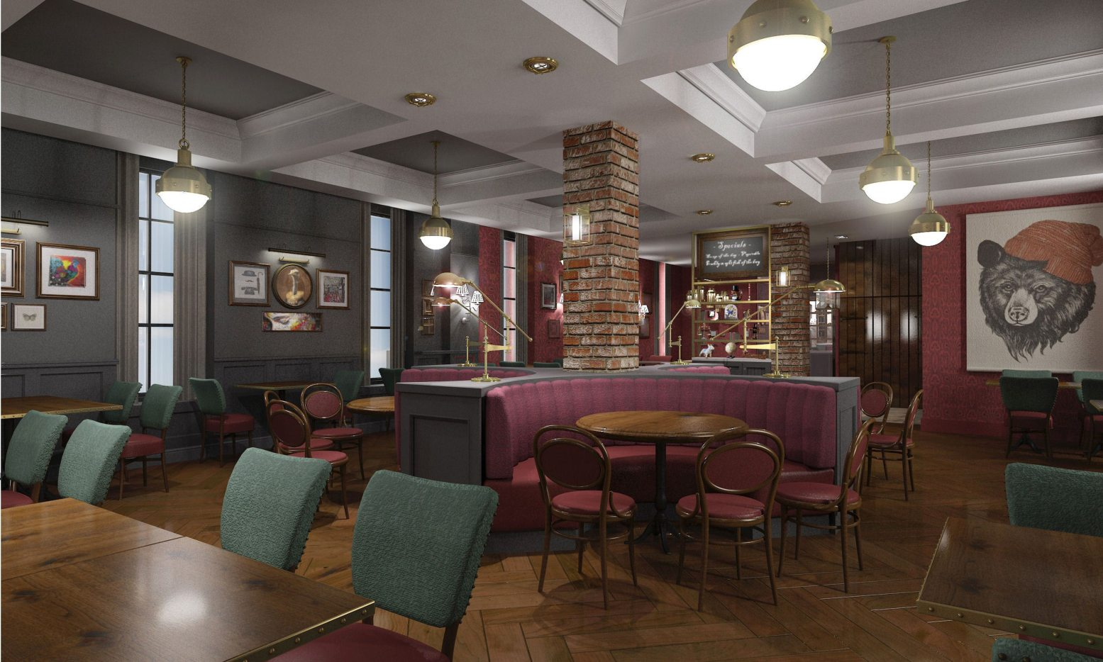 The rich colours and layered textures bring a taste of Britain to The Heritage Room