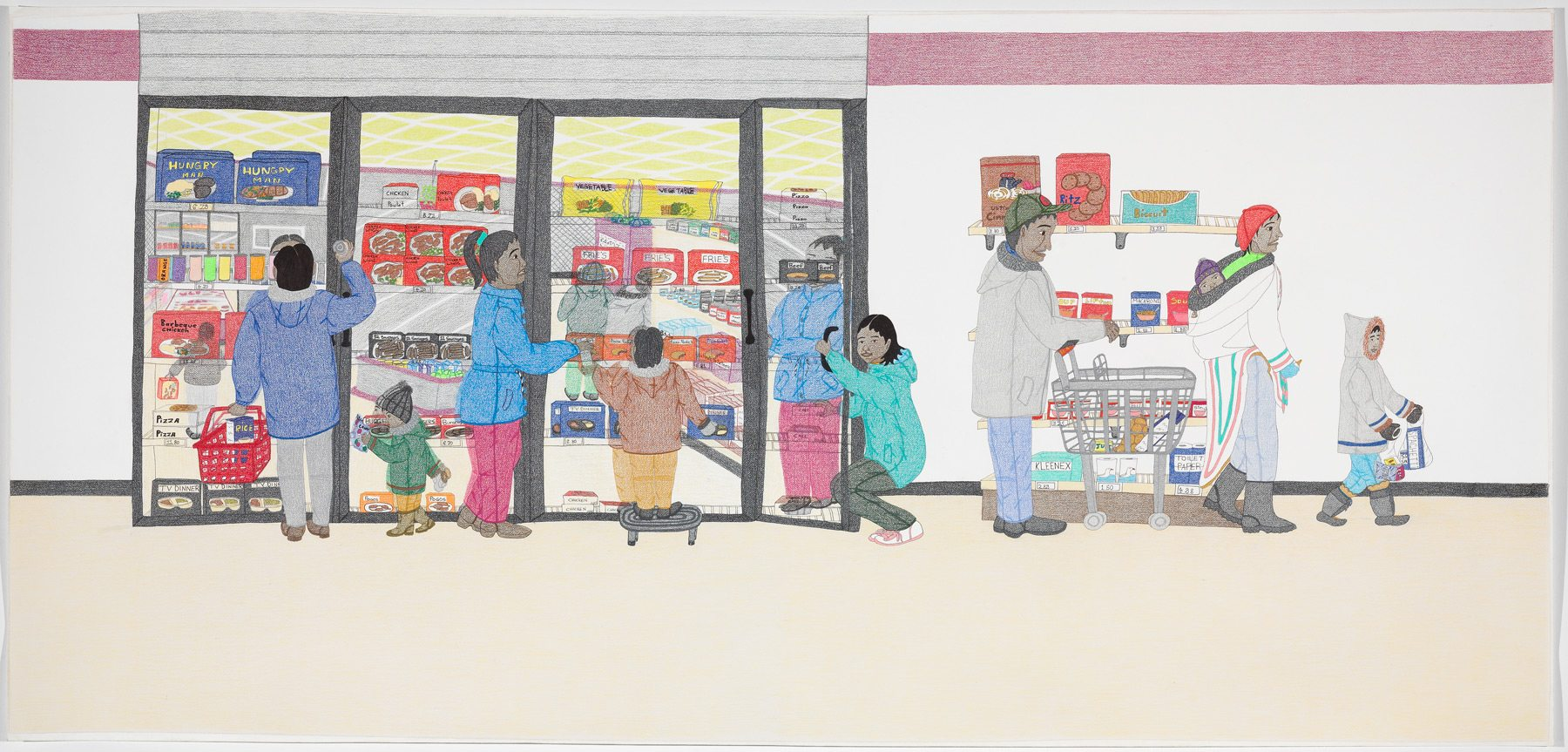 Cape Dorset Freezer, Annie Pootoogook, 2005 coloured pencil crayon, black metallic ballpoint pen and graphite on wove paper, 111.5 x 233.1 cm Purchased 2007 National Gallery of Canada, Ottawa. Photo: NGC