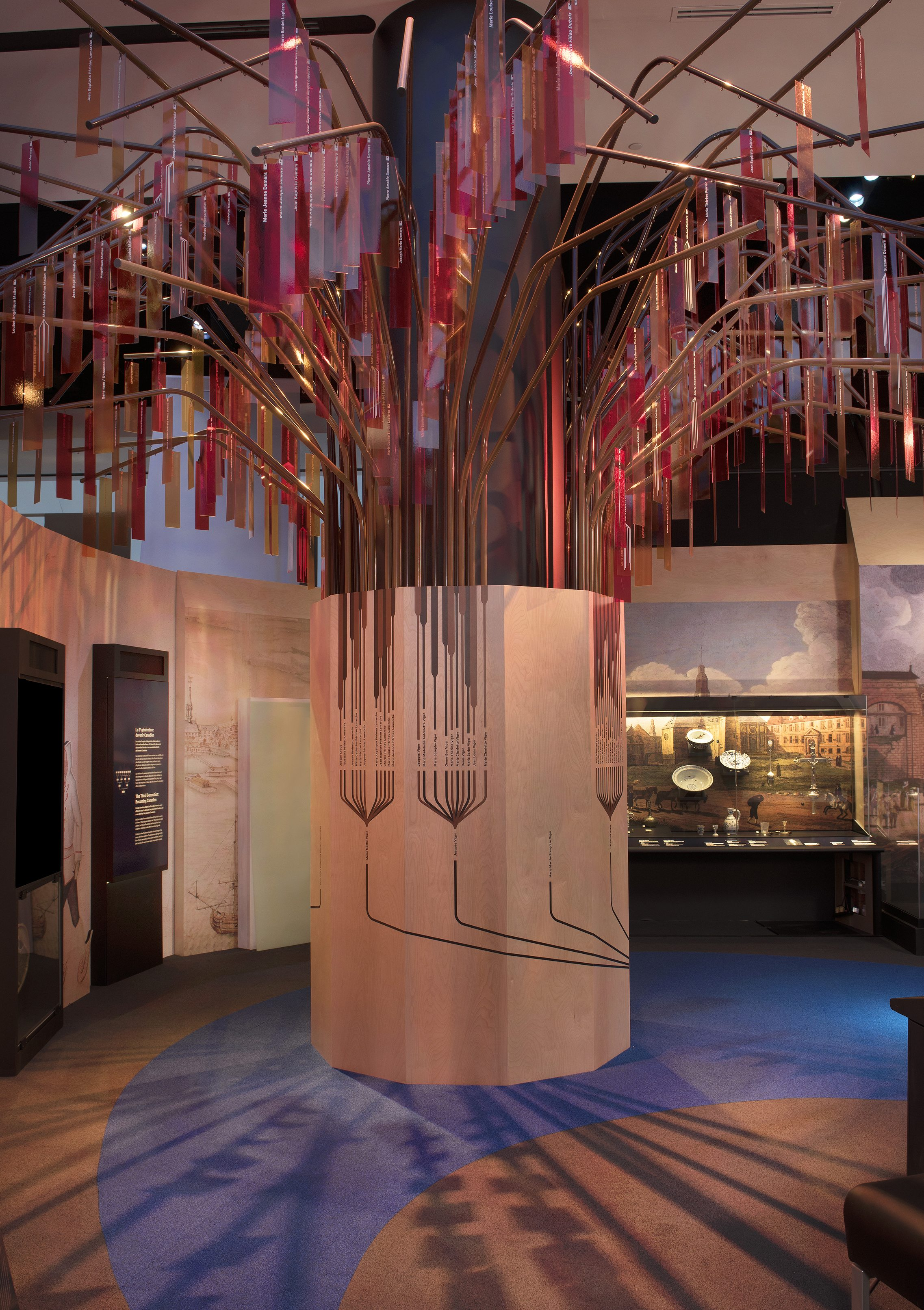 "Large symbolic family tree. The family tree of Catherine Moitié, one of the first ""filles du roi"" (king's daughters) to come to New France, with more than 600 of her descendants represented as branches and leaves. Canadian Museum of History"