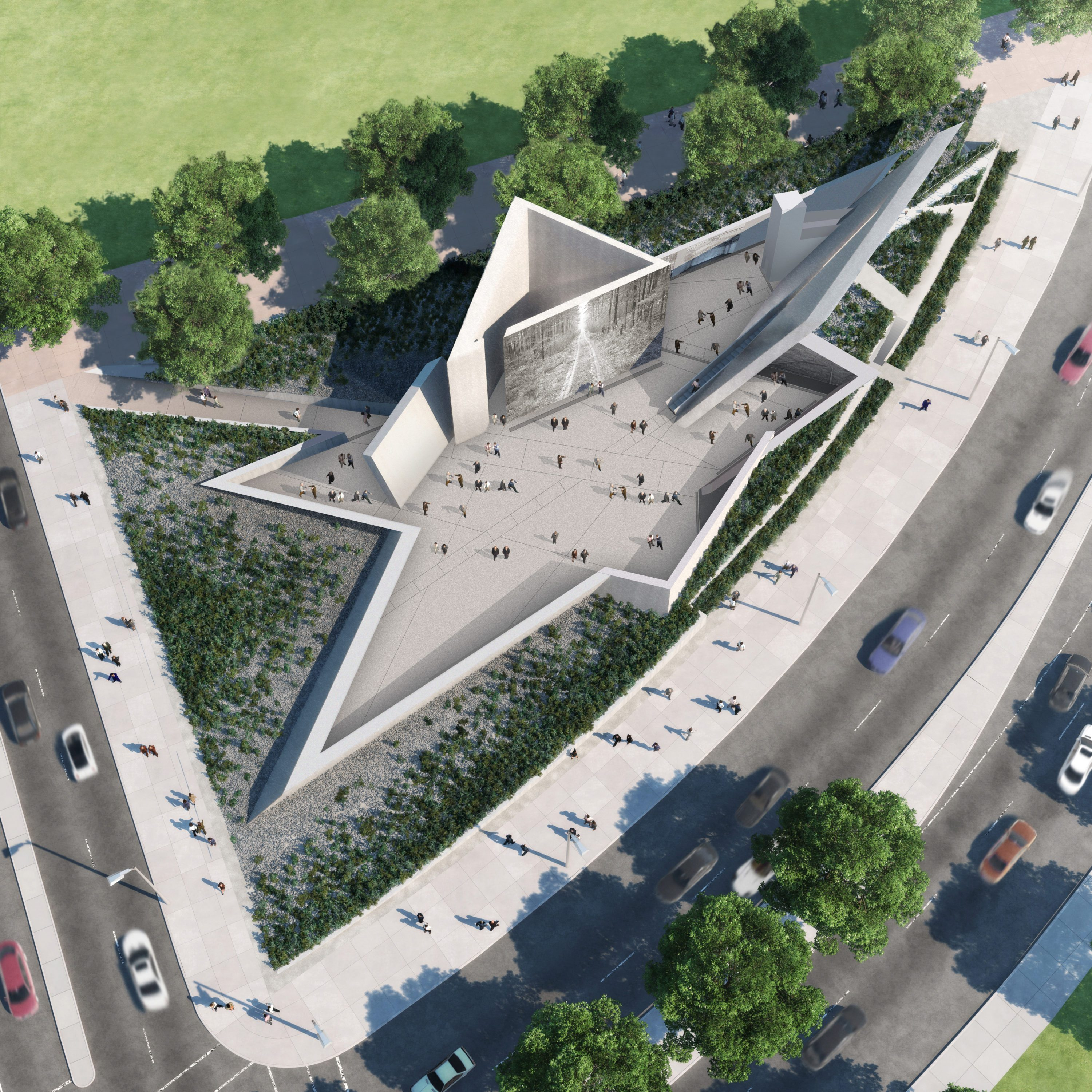 What the National Holocaust Monument will look like from the air. Courtesy of NCC