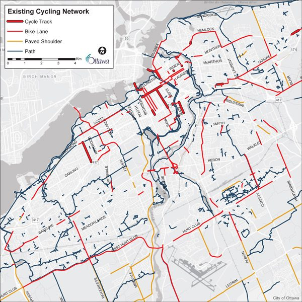 The above map illustrates the disjointed nature of the city's bike lanes. Ottawa's Healthy Transportation Coalition is advocating for bike lanes that connect low-income neighbourhoods to downtown. Courtesy: City of Ottawa