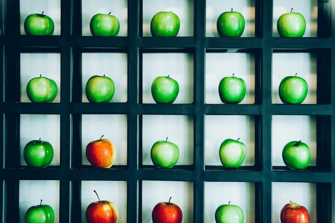 "The ""apple wall"" in the entranceway is a feast for the eyes (and smells nice, too). Photo: Transparent Kitchen"