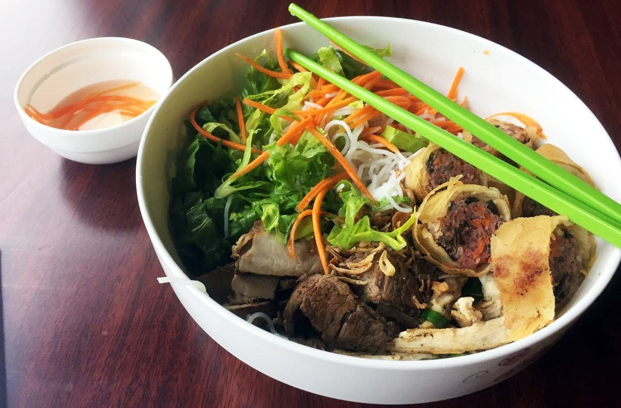 Chez Anh's vermicelli bowl with spring roll