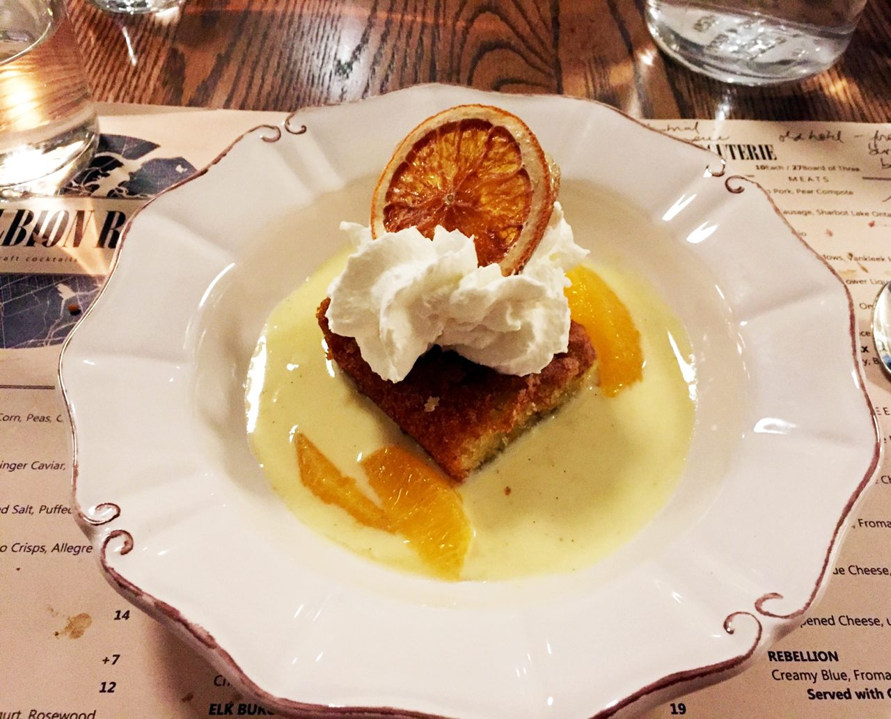 The Albion Rooms' olive oil and orange cake with cream and candied fruit