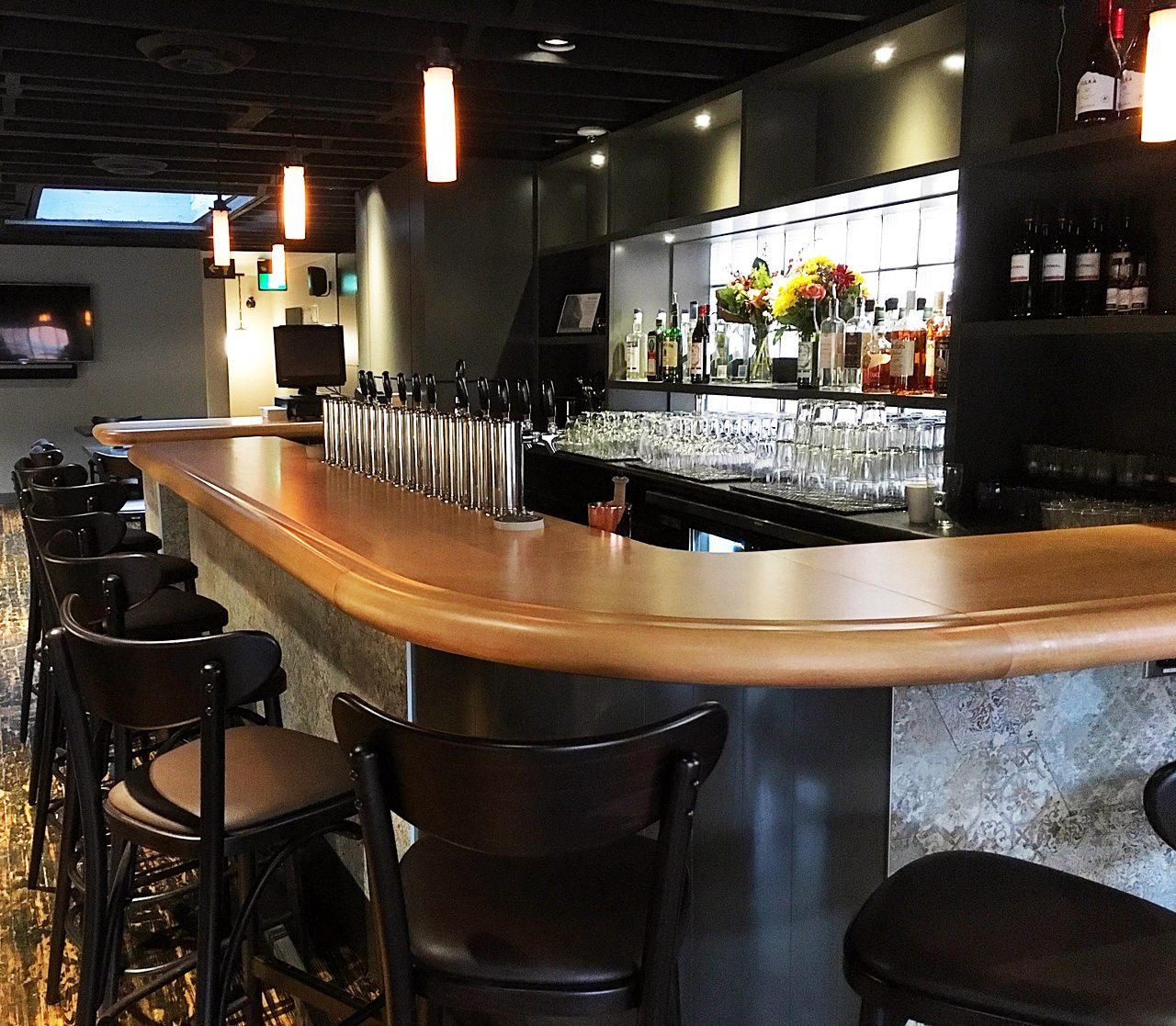 Each floor has its own bar. The upstairs seating area (shown) seats 50 guests