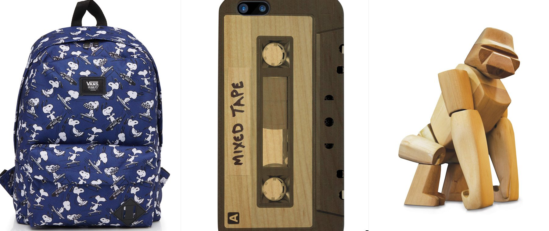 Make it a Charlie Brown Christmas! Snoopy trades in his Sopwith Camel for a skateboard in this Peanuts-inspired Vans backpack. $45. Simons. Is it mix tape or mixed tape? Regardless, go analog with this phone case — don't worry, it won't unspool. $36. Boogie & Birdie. Named after an ancient mariner who supposedly discovered gorillas for the Greeks, Hanno the Gorilla can hold poses, hook to objects, and is durable thanks to his hardwood frame. $150. The Modern Shop