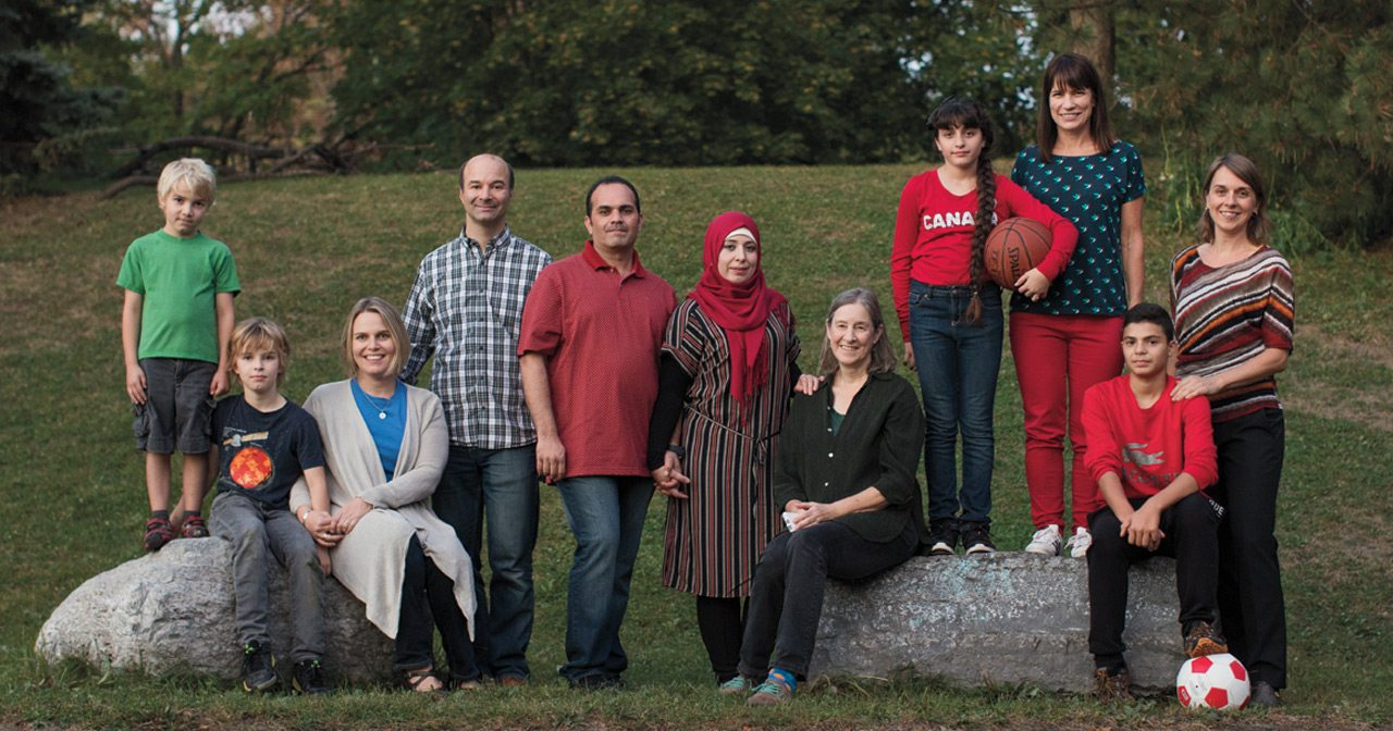 Group effort: Members of the sponsorship group DOORS to Canada shown with the Joumaa family. From left: Eric Bernier, Thomas Bernier, Amanda Potts, Andre Bernier, Feras Joumaa, Fayzeh Shahrour, Katherine Addleman, Souad Joumaa, Teena Bedard, Noor Joumaa, and Martina Dobson. Photo: Remi Theriault