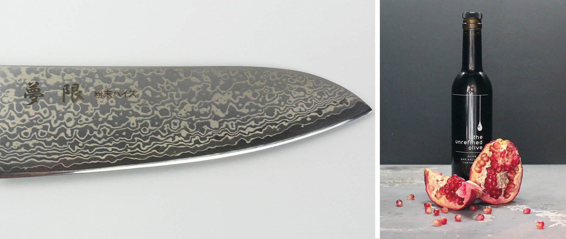 (Left) The Mugen Santoku is a multi-purpose knife perfect for slicing, dicing, and mincing vegetables. $500. Knifewear. Extra-virgin olive oils and aged balsamic vinegar make excellent host gifts. This pomegranate vinegar would pair well with winter greens. $14/200 mL. The Unrefined Olive.