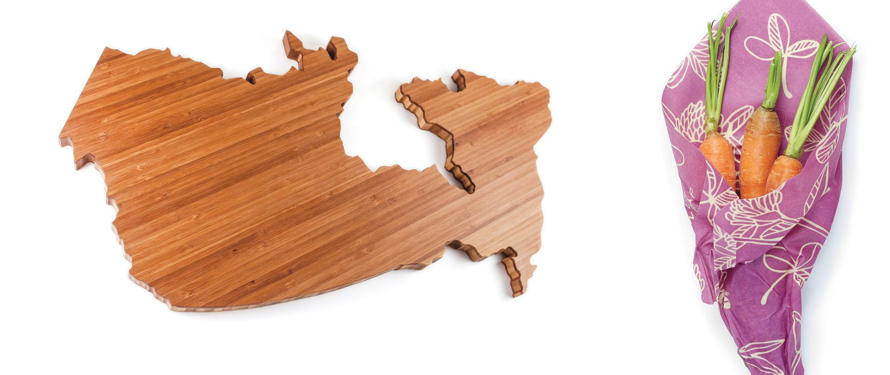 (Left) Show your national pride with this bamboo cheese board — made in Canada by Love My Local. $106. Boogie and Birdie. Sustainable food storage from Bee's Wrap uses the heat of your hands to create a seal. It's durable, washable, and reusable. $30. C.A. Paradis