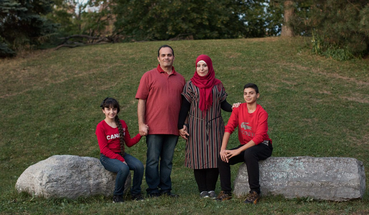 The Joumaa family: Souad, Feras, Fayzeh, and Noor. Photo: Remi Theriault