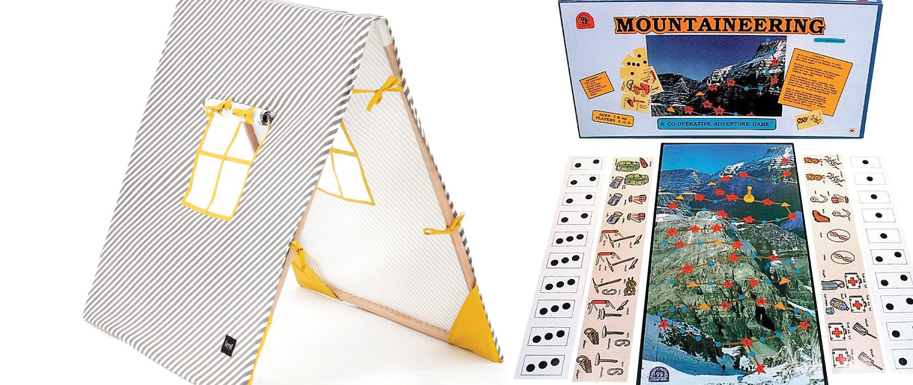 This printed cotton play tent comes in different colours and folds up easily, plus the windows roll down for added privacy. $206. The Modern Shop. Avoid avalanches, overcome frostbite, and grapple with challenging slopes as you climb Mount Everest in this locally made board game that encourages co-operative play. $21. FamilyPastimes.com