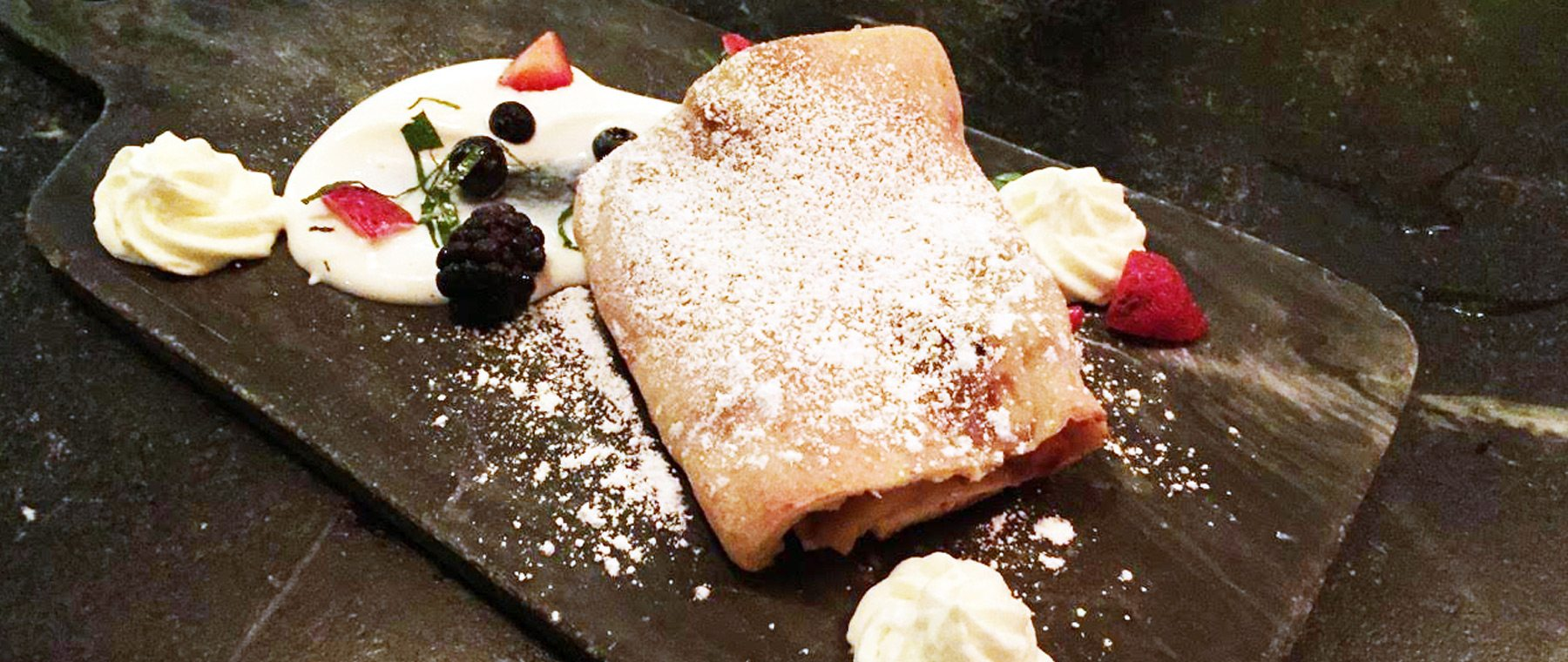 Das Lokal's apple strudel with fruit and crème fraiche