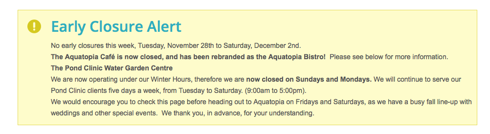 Recent change announced at Aquatopia!