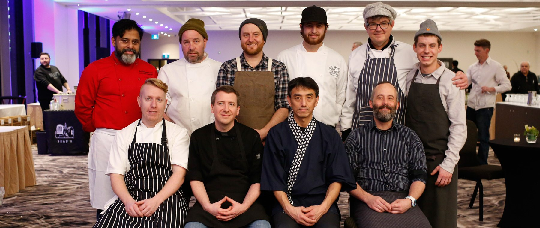 Top Row, left: Joe Thottungal (Coconut Lagoon), Patrick Garland (Absinthe), Michael Radford (Whalesbone), (Sur-Lie) , Charles Part and Yanick Lasalle (Les Fougeres). Bottom Row, left: Simon Fraser (Fraser Cafe), XXX, Moriyuki Hiroha (C'est Japon a Suisha), Scott Adams (Benny's Bistro). Photo: David Kawai