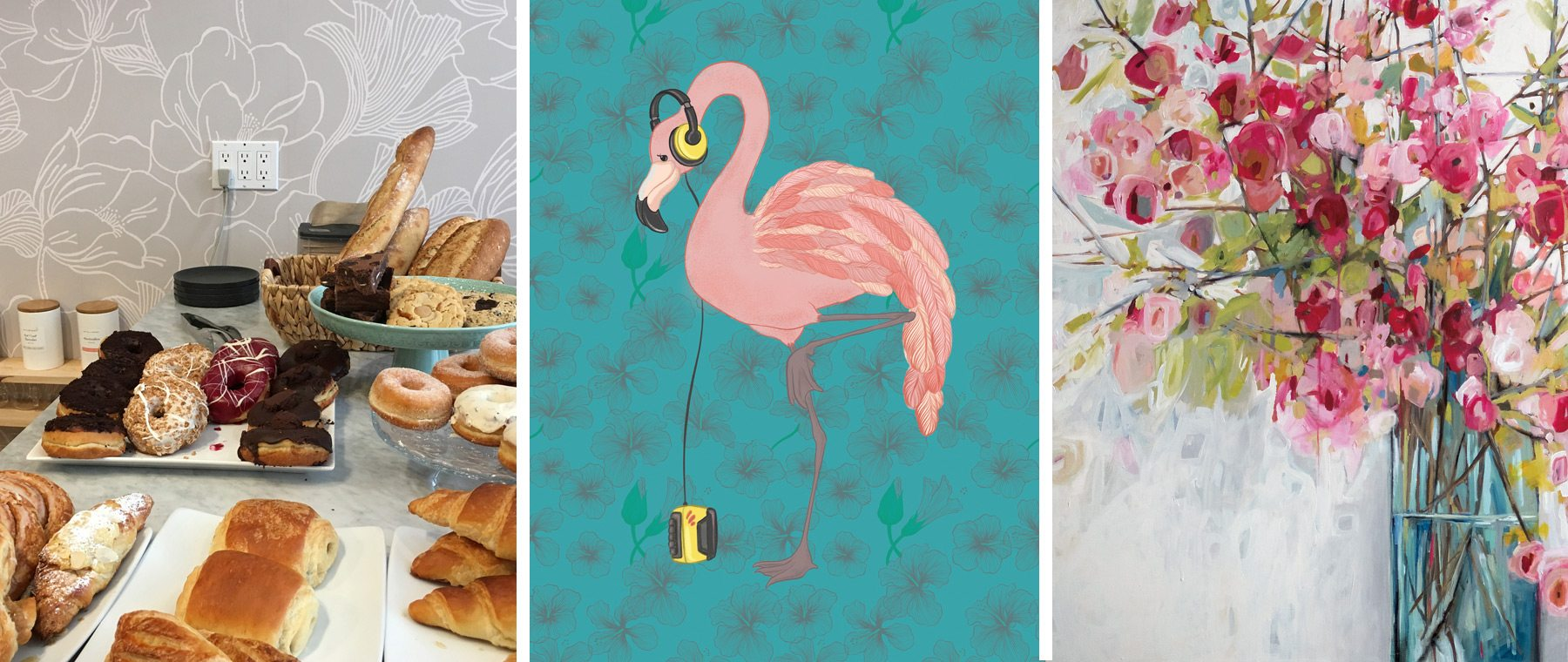 Random Desires — Walkman-wearing flamingos, Hellebore wallpaper, dazzling florals