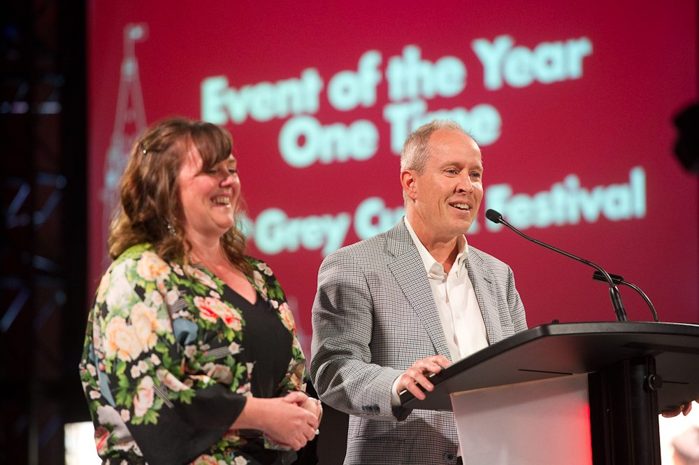 Event of the Year- One Time — Tie! 105th Grey Cup Festival by Ottawa Sports & Entertainment Group, accepted by Mark Goudie & Valerie Hughes. Photo: Mark Halleron