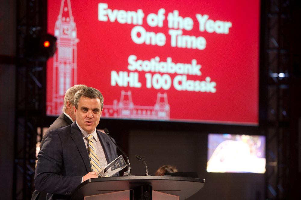 Event of the Year- One Time — Tie! Scotiabank NHL100 Classic Weekend by Ottawa Senators, accepted by Geoff Publow. Photo: Mark Halleron