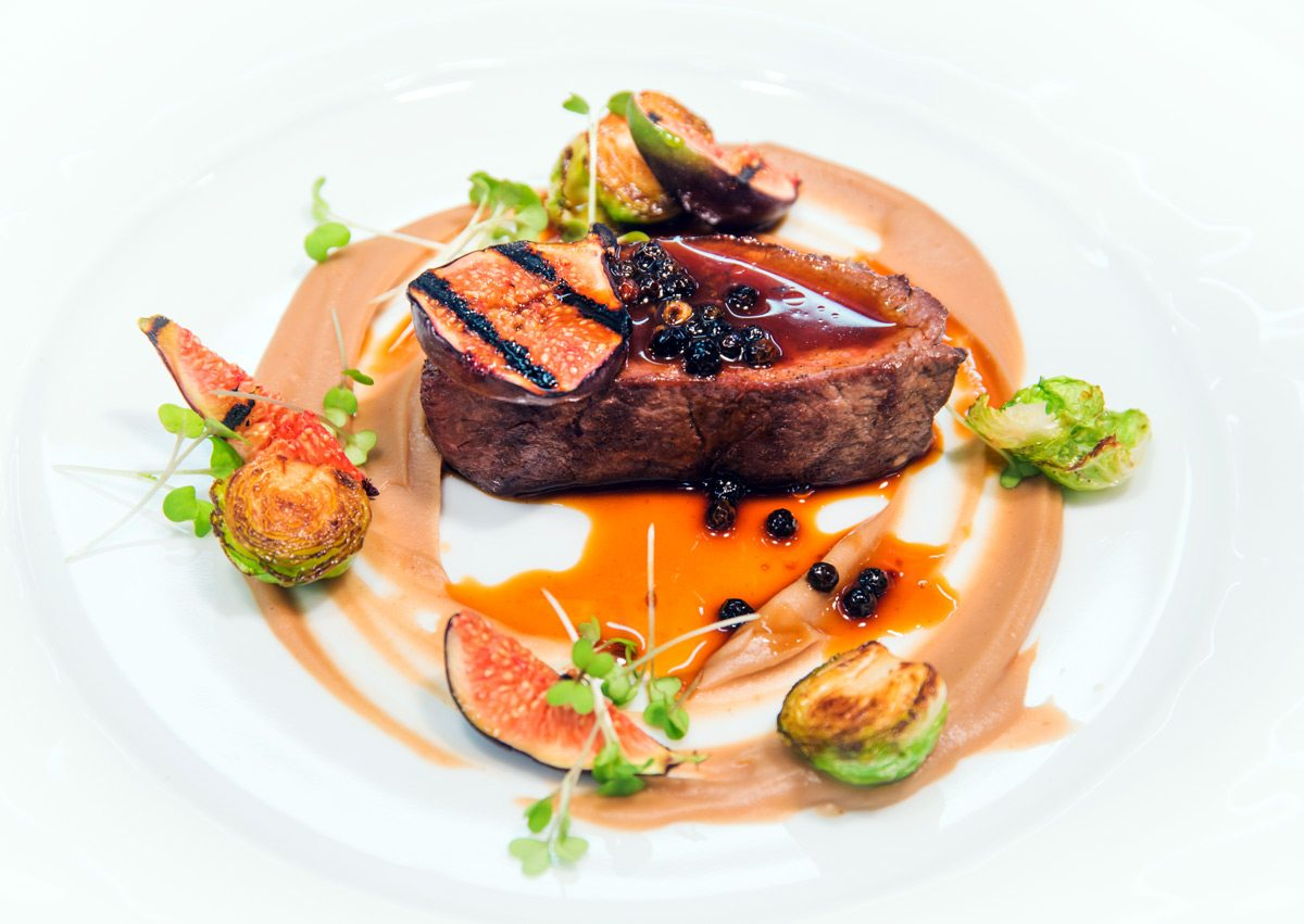 Venison Striploin with juniper demi-glaze, chestnut puree, buckwheat honey, brussel sprouts and grilled figs. This is one of Ardington's signature dishes