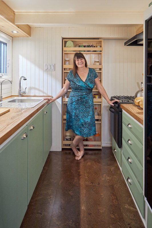 Christine McIntosh in her tiny house. Photo: Justin Van Leeuwen