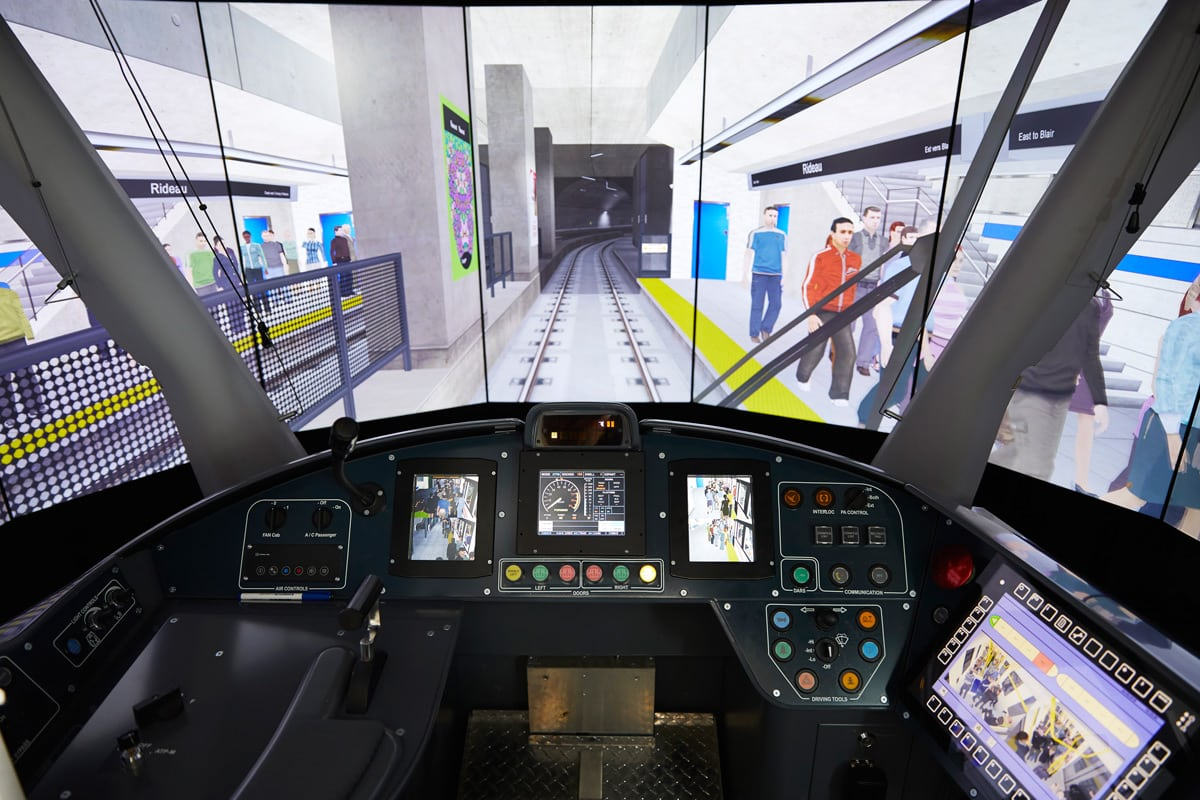 The experience of training on the simulator is like playing a life-sized video game. Photo: Remi Theriault