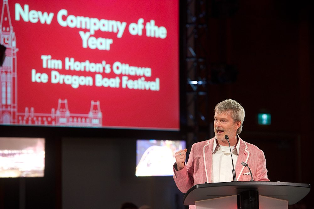 New Company of the Year: Tim Hortons Ottawa Ice Dragon Boat Festival accepted by John Brooman. Photo: Mark Halleron
