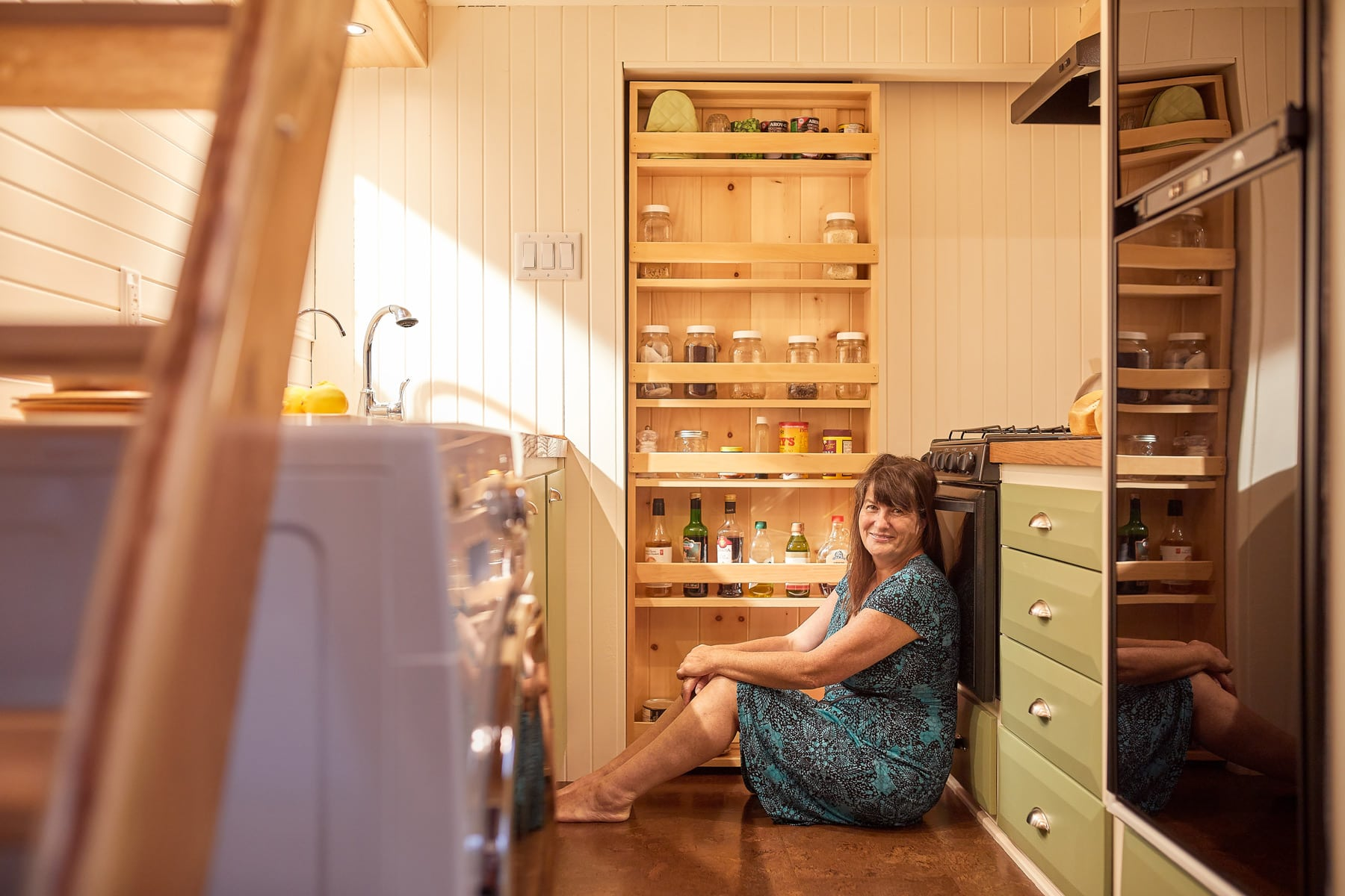 Christine McIntosh inside her tiny home. Photo: Justin Van Leeuwen