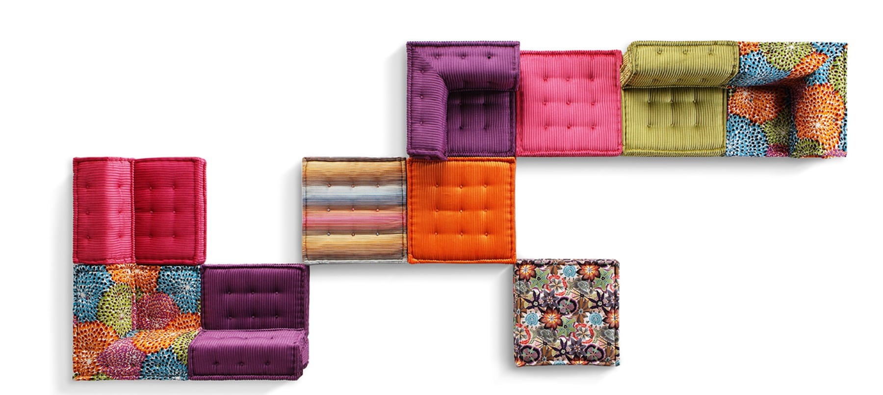 Giant mobile cushions upholstered in eye-catching fabric — The Mah Jong sofa