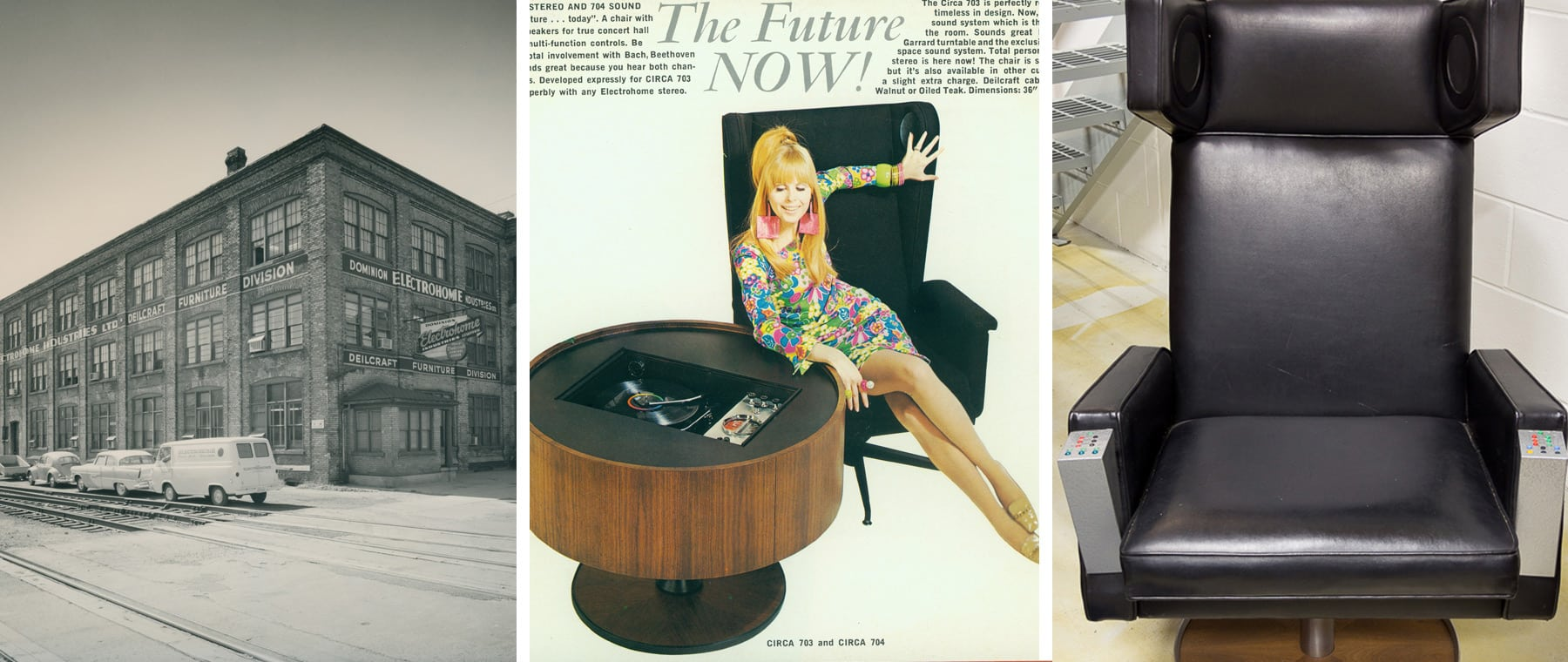 "In its heyday the Deilcraft plants employed 4,400 workers in Kitchener, Waterloo, and Cambridge; described in the ad as ""timeless design,"" the stereo was very much of its era — when North Americans were envisaging a space-age future, including the chair"