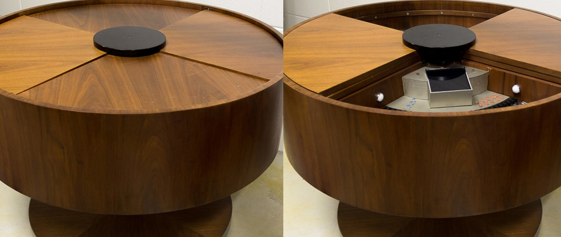 An example of Electrohome's circular wooden console