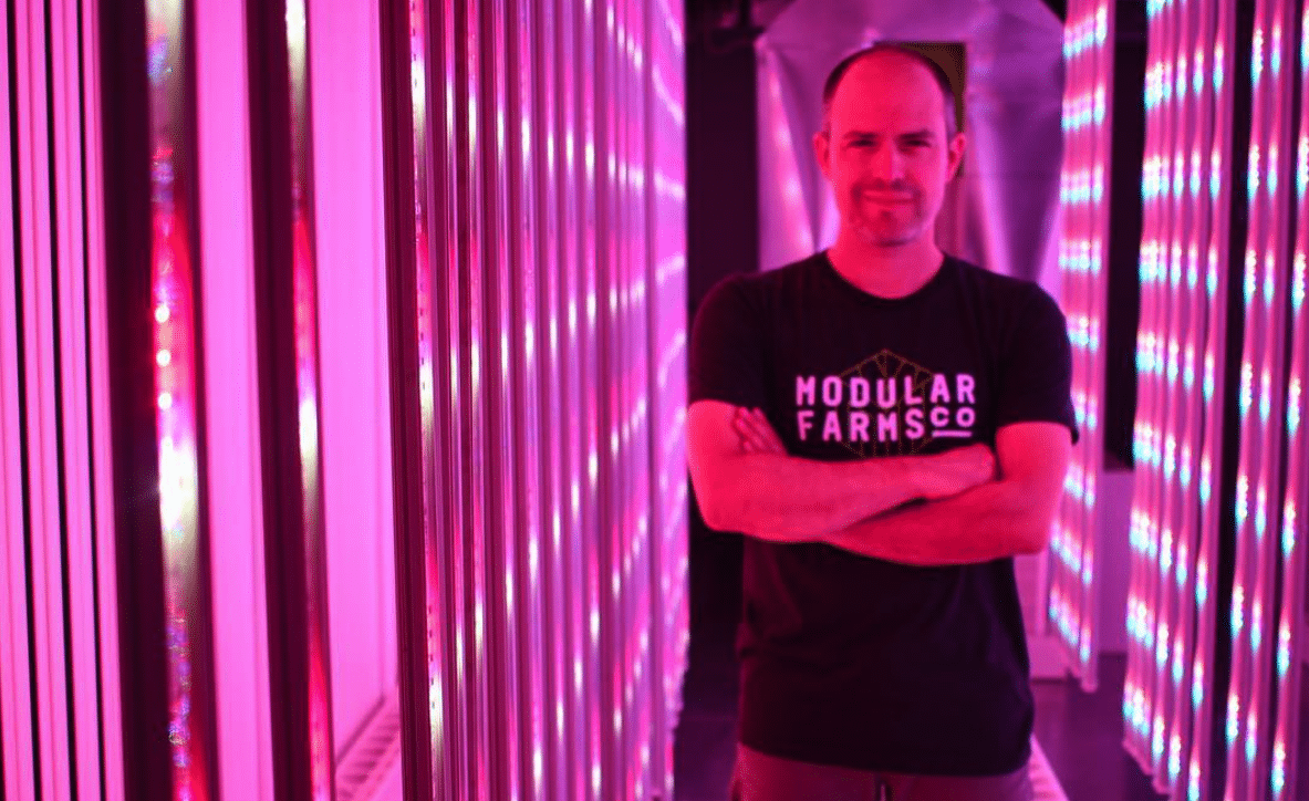 Eric Amyot, CEO of Modular Farms inside one of his modules