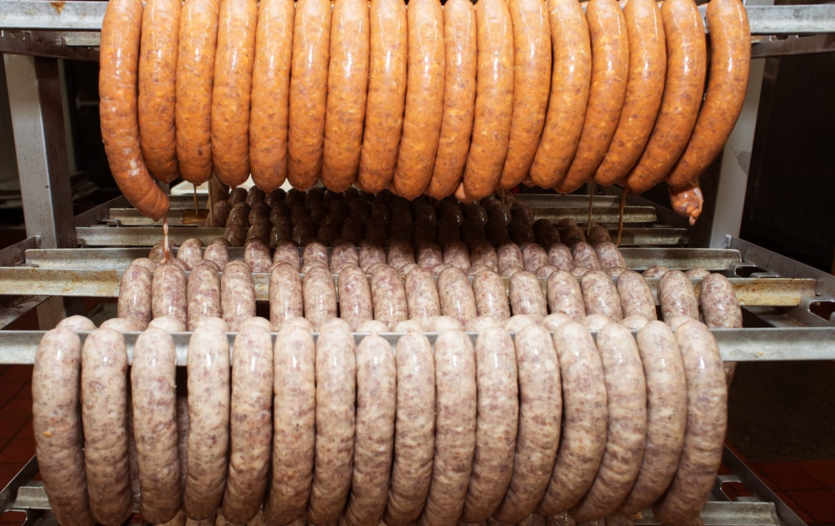 Sausages in the smoker. Photo: Simon Gardner
